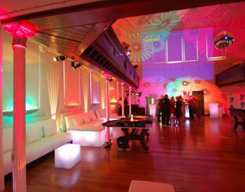 Sleek party decor upper hall