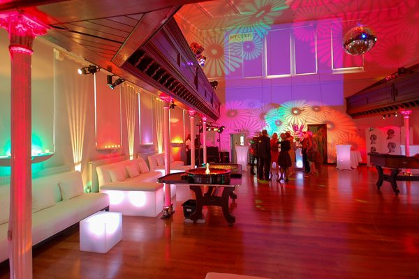 Sleek party decor in upper hall